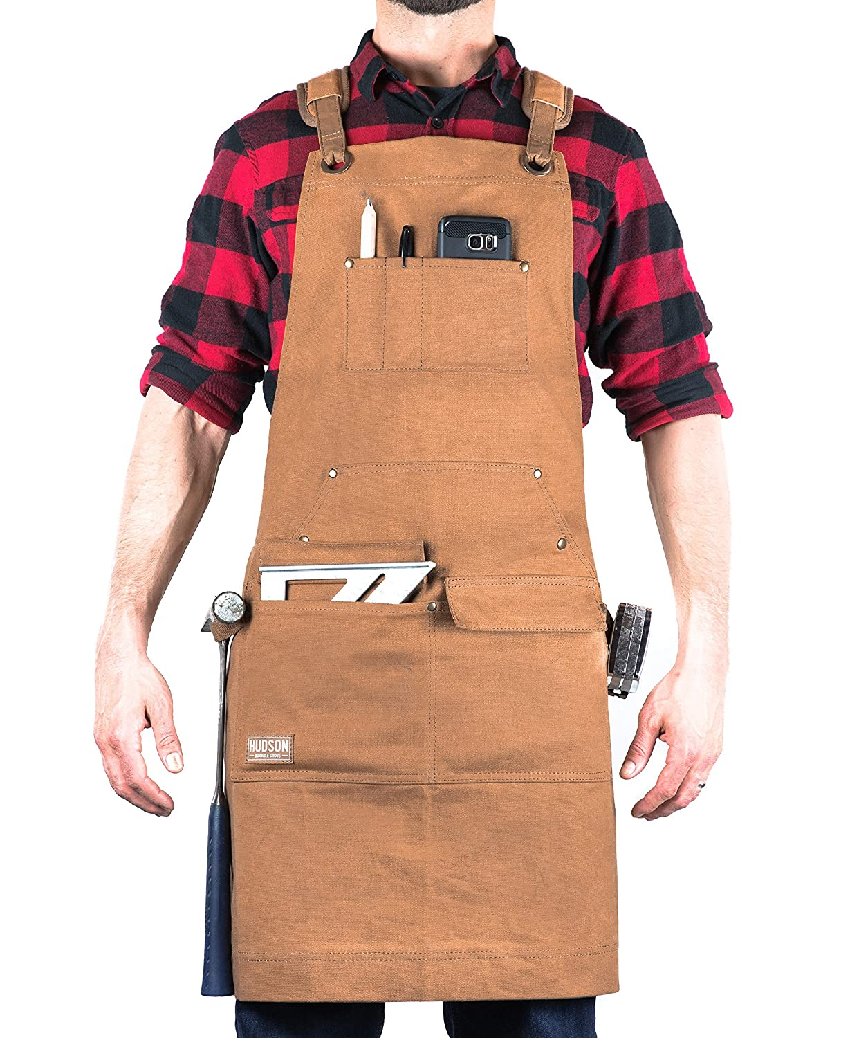 Hudson Durable Goods - Heavy Duty Waxed Canvas Work Apron with Tool Pockets (Black), Cross-Back Straps & Adjustable M to XXL HDG901