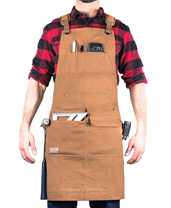 Hudson Durable Goods - Woodworking Edition - Waxed Canvas Apron (Brown) - Padded Straps, Quick Release Buckle, 2x Hammer Loops, Adjustable M to XXL