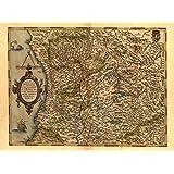 Riproduzione mappa antica dell'Italia, Milano, lago di Como, Genova, Parma, Cremona e Bergamo (Repubblica Italiana), diAbraham Ortelius, formato A1, 78x 57cm