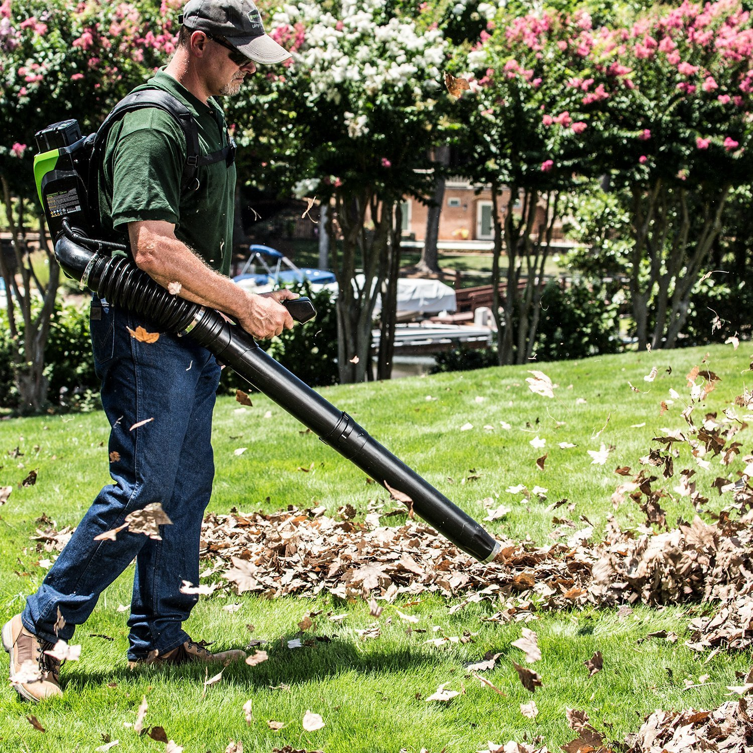 Greenworks BPB80L2510 80V 145MPH - 580CFM Cordless Backpack Blower, 2.5Ah Battery and Charger Included by Greenworks