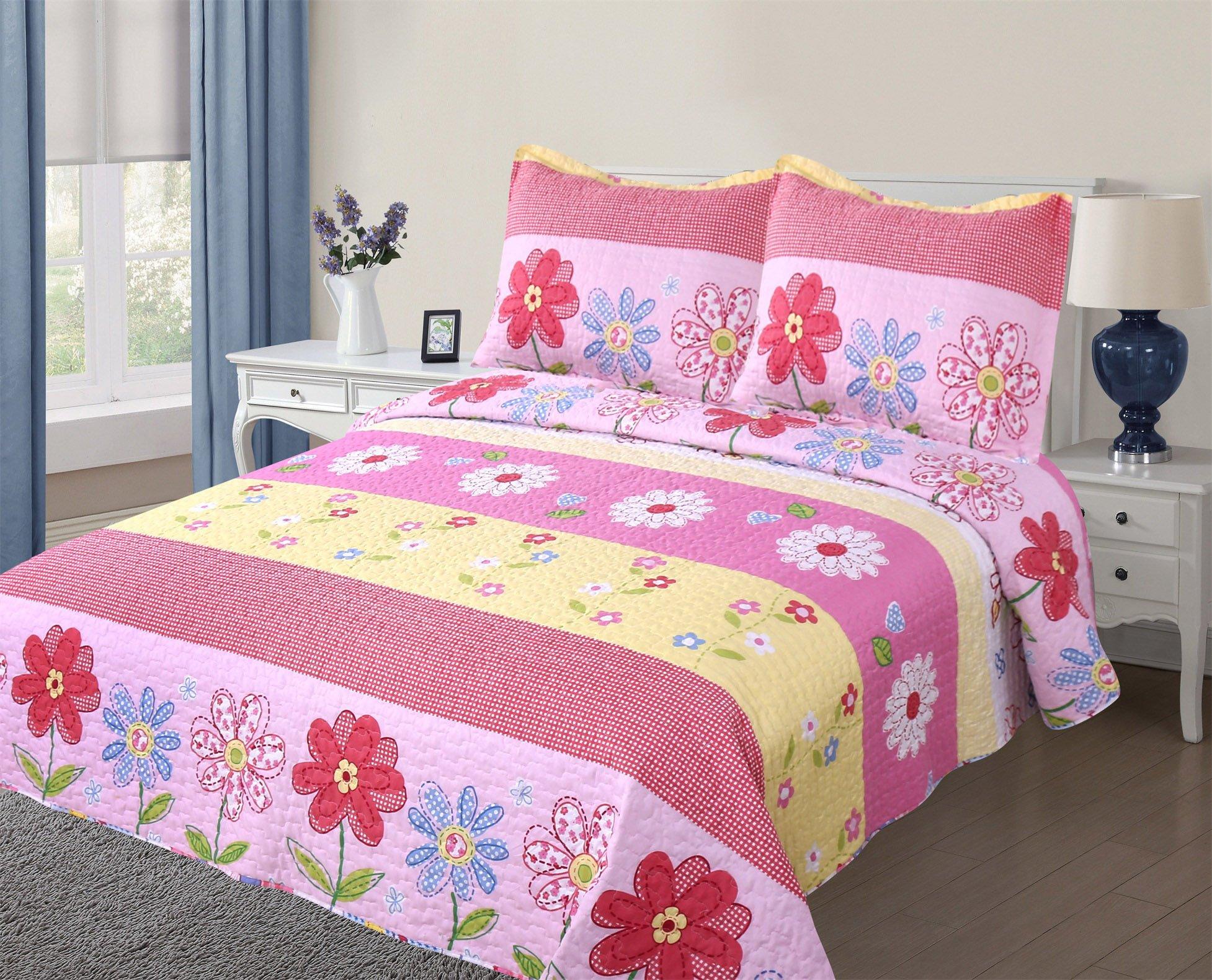 Golden Linens Full Size( 1 Quilt, 2 Shams) Pink Light Pink Yellow Floral Kids Teens/girls Quilt Bedspread 06-16 Girls by Goldenlinens