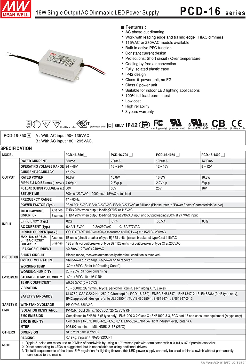 PowerNex Mean Well PCD-16-1400B 12V 1400mA 16.8W Single Output LED Power Supply with PFC