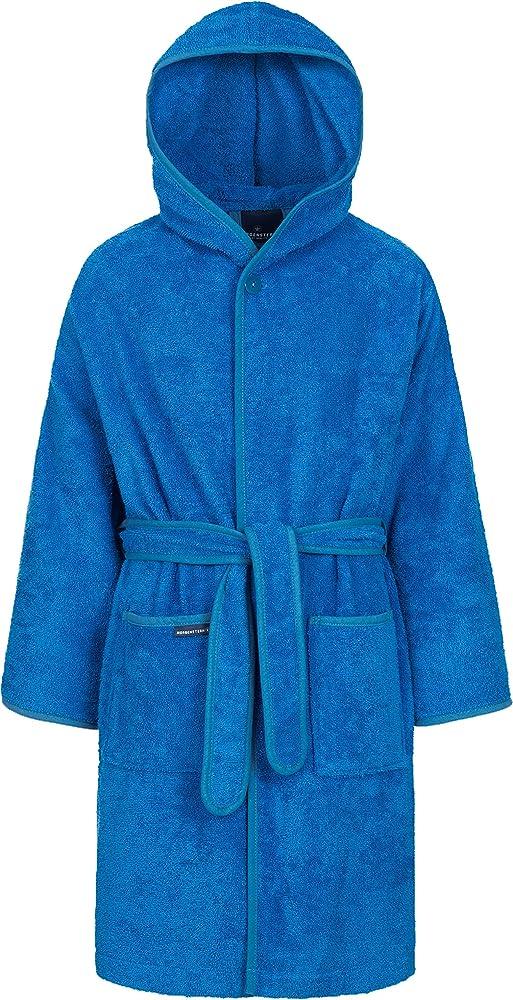Morgenstern Bata de Baño Rizo de Algodón Niños Capucha Azul Talla 98-104 cm 3-4 Años: Amazon.es: Ropa y accesorios