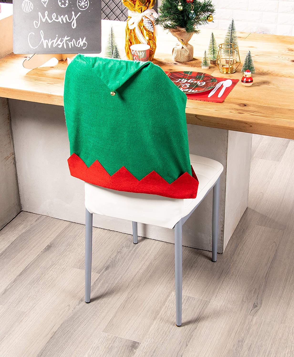 19 x 22 Inches 6-Pack Dining Seat Back Slipcover Holiday Themed Accessories Festive Decor for Home and Kitchen Santa Elf Hat Design with Gold Bell Red and Green Juvale Christmas Chair Covers