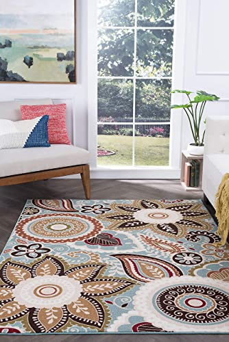 Zoey Transitional Floral Seafoam Non-Skid Rectangle Area Rug, 9 x 12.6