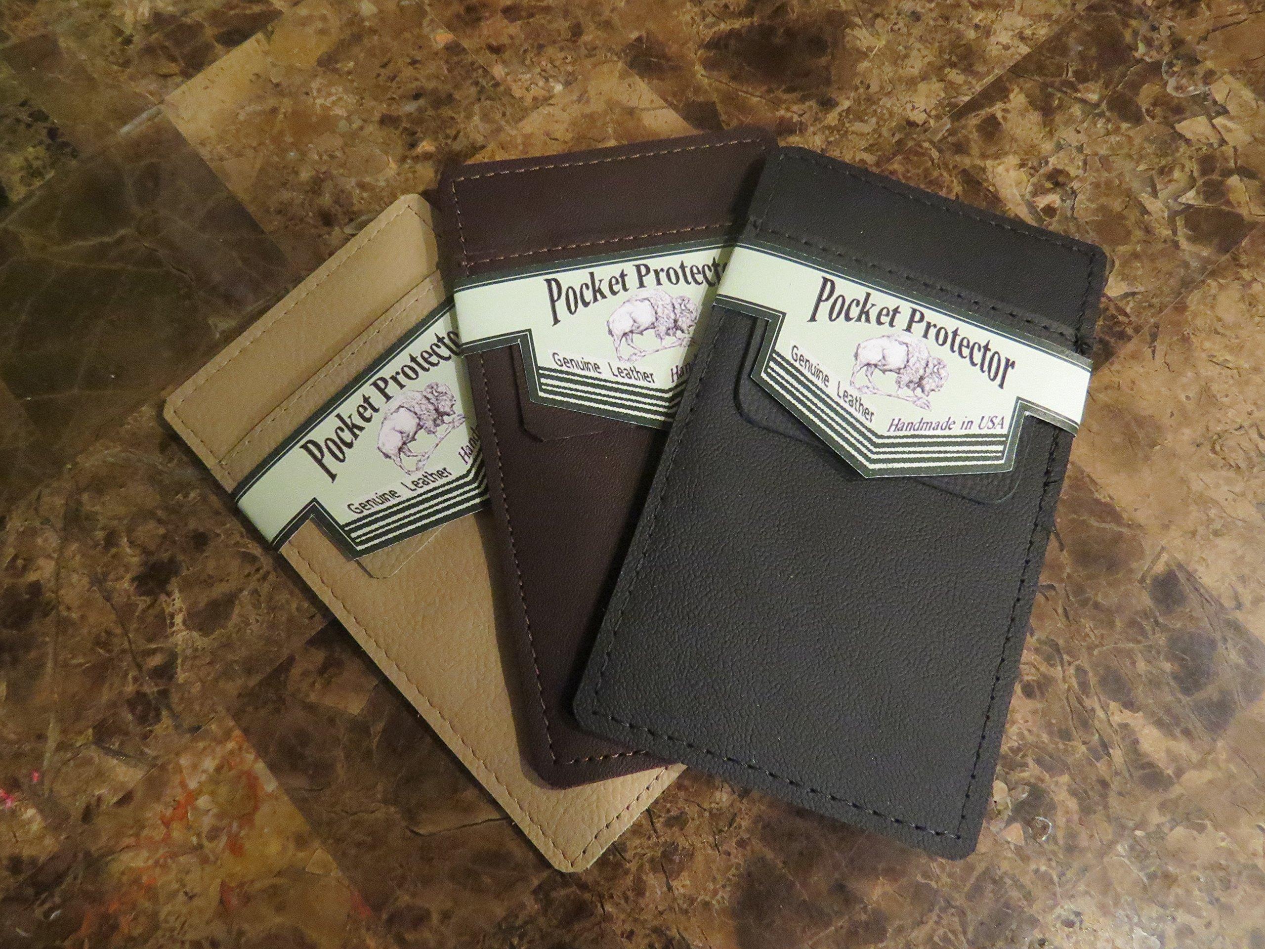 {1} Dark Brown Leather Pocket Protector
