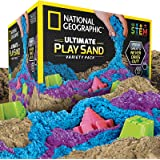 NATIONAL GEOGRAPHIC Play Sand Combo Pack-2 LBS Each of Blue, Purple and Natural Sand with Castle Molds-A Kinetic Sensory Acti