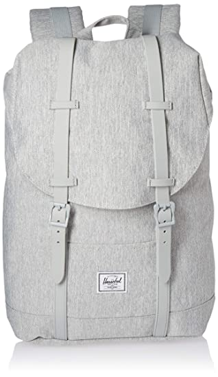 1a5c2d0f004 Amazon.com   Herschel Retreat Mid-Volume Backpack Light Crosshatch Grey  Rubber, One Size   Casual Daypacks