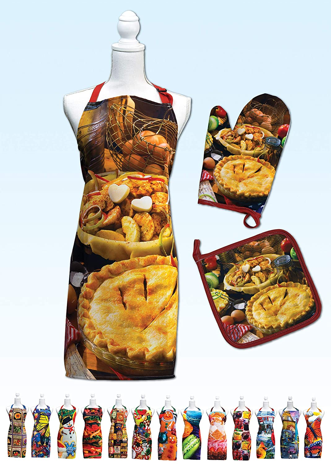 Springbok Apple Pie Adjustable Kitchen Apron, Oven Mitt and Pot Holder Set