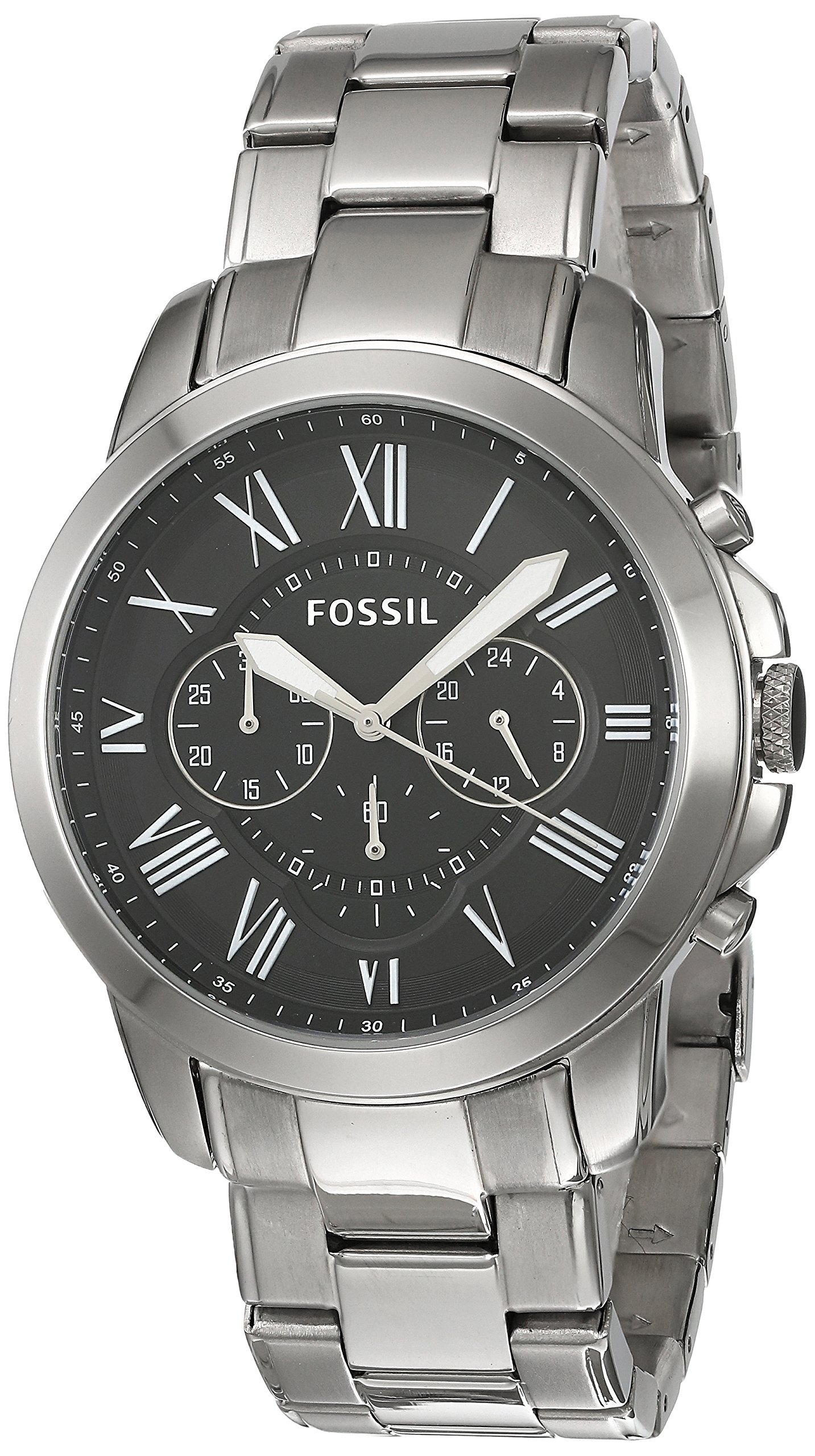 Fossil Grant Black Dial Stainless Steel Men's Watch FS4736IE