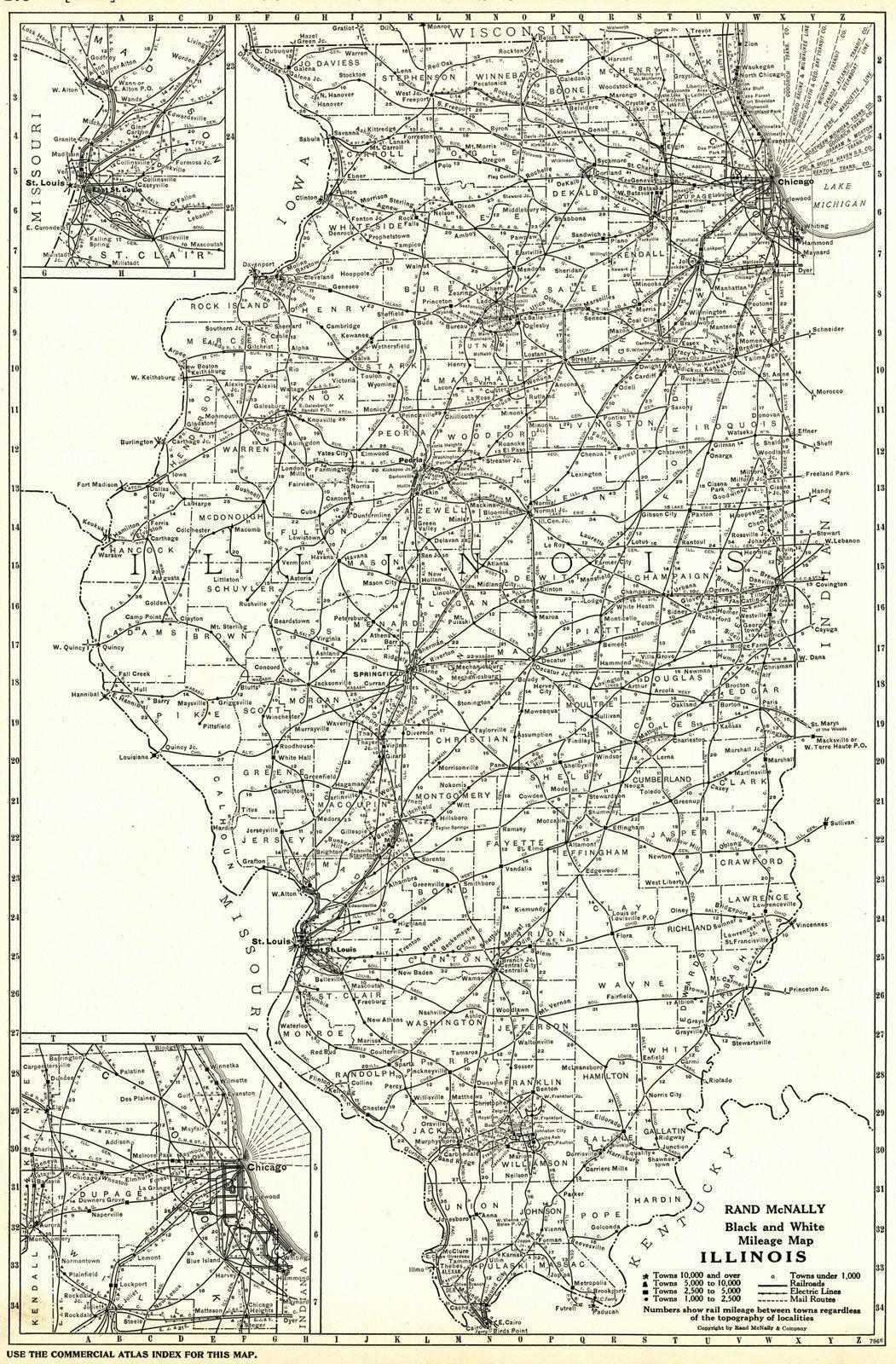 Historic Map   1921 Illinois- Black and White Mileage Map   Rand McNally and Company