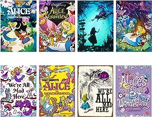 Alice in Wonderland Poster Anime Wall Art for Bedroom Living Room Decor Birthday Gift Unframed 8PCS 11.5x16.5in