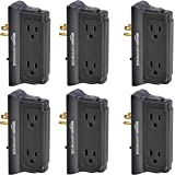AmazonCommercial Black, 6-Pack Mounted Wall Adapter Tap Surge Protector