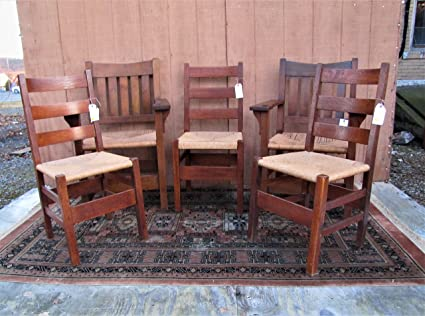 Outstanding Amazon Com Great Antique Set Of 5 Gustav Stickley Dining Alphanode Cool Chair Designs And Ideas Alphanodeonline