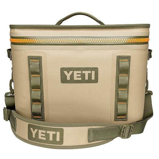 YETI Hopper Flip 18 Portable Cooler, Field Tan/Blaze Orange