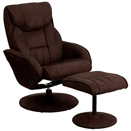 Bon Flash Furniture Contemporary Brown Microfiber Recliner And Ottoman With  Circular Microfiber Wrapped Base