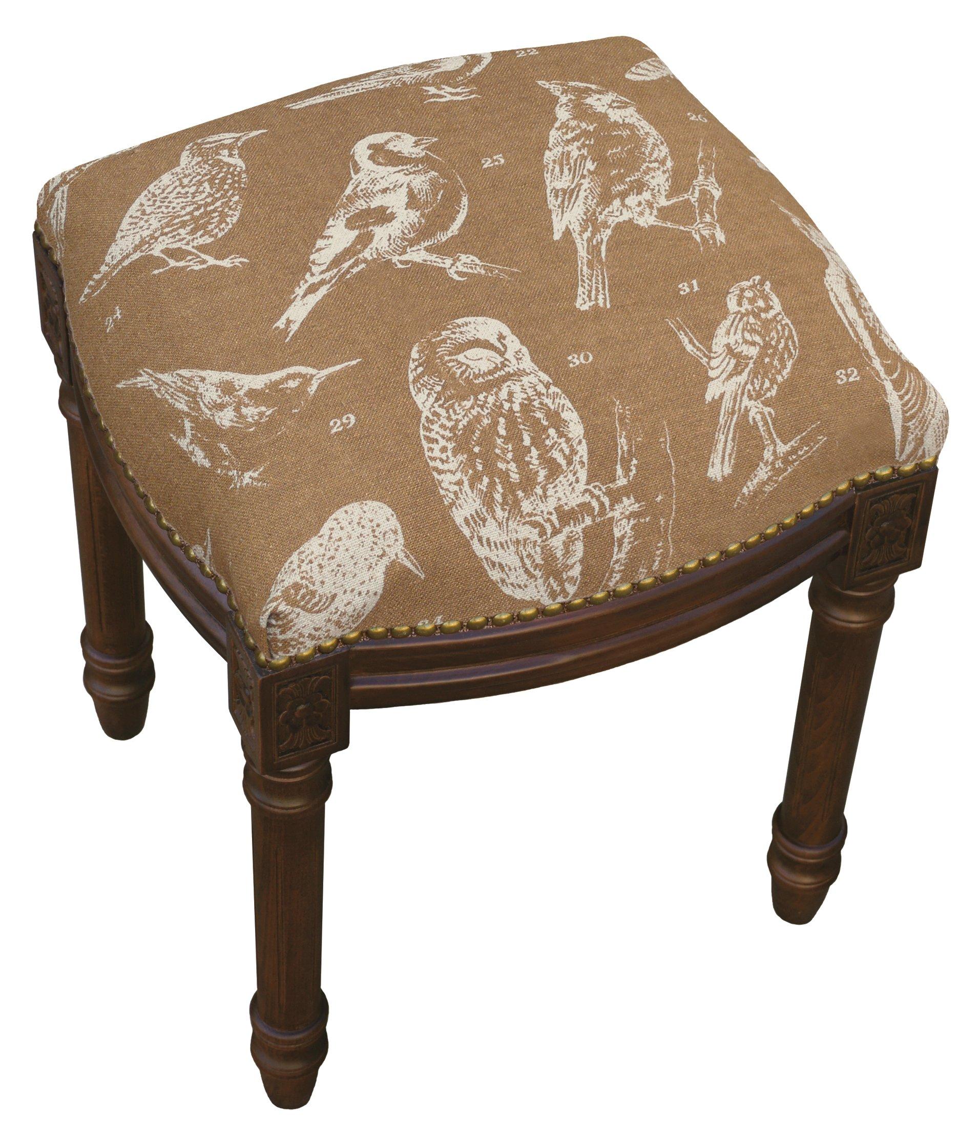SketchONE Linen Upholstered Vanity Stool, Bird Watch, Caramel