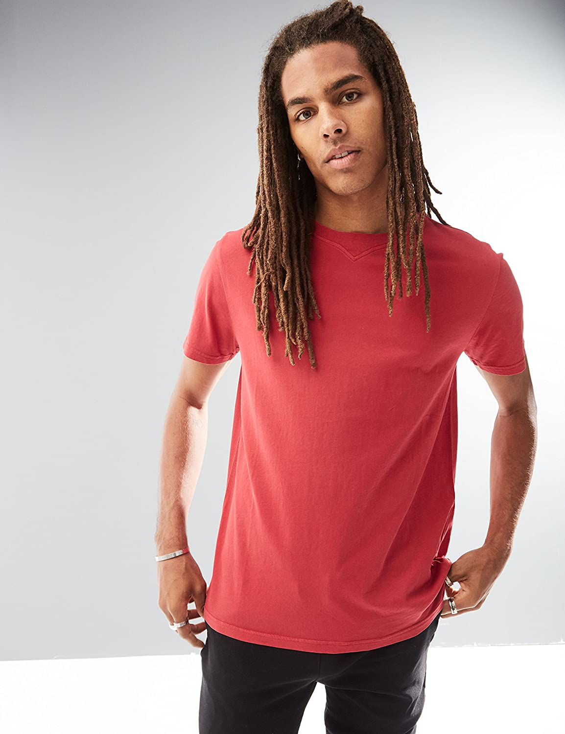 Rebel Canyon Men's Young Short Sleeve Crewneck Enzyme Washed T-Shirt Medium Red