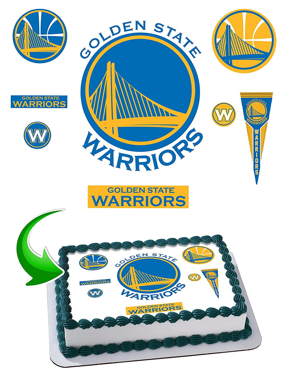 picture regarding Printable Edible Cake Toppers called Golden Nation Warriors Edible Cake Graphic Cake Topper Icing