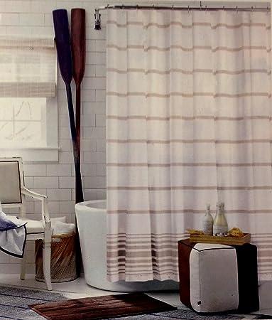 Amazon.com: Tommy Hilfiger Baja Signature Stripe Shower Curtain ...