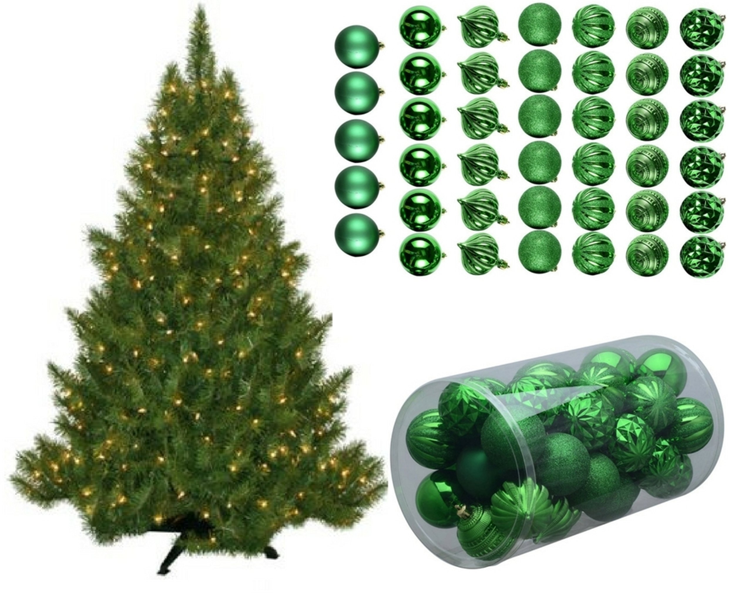 Pre-Lit 4.5Ft 250 Clear Lights Artificial Christmas Tree with 41piece Green Glitter Ornaments by Holiday Time