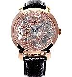 Lindberg&Sons SK14H065 montre homme /Etanche jusqu'à 5 ATM/à remontage manuel analogue montre sequelettique/Bracelet en cuir noir