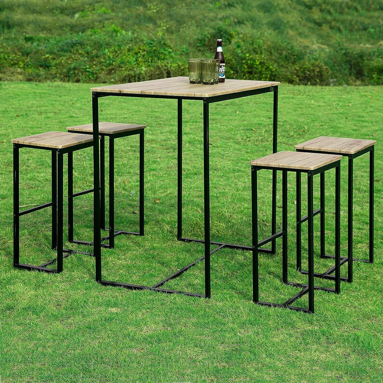 Bistrotisch Mit Stühlen Outdoor.Sobuy Ogt15 N 5 Teilig Bartisch Mit Stühlen Esstisch