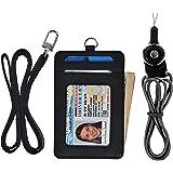Slim ID Card Holder Wallet 2 Lanyard Credit Card Case Holder Leather Neck Wallet