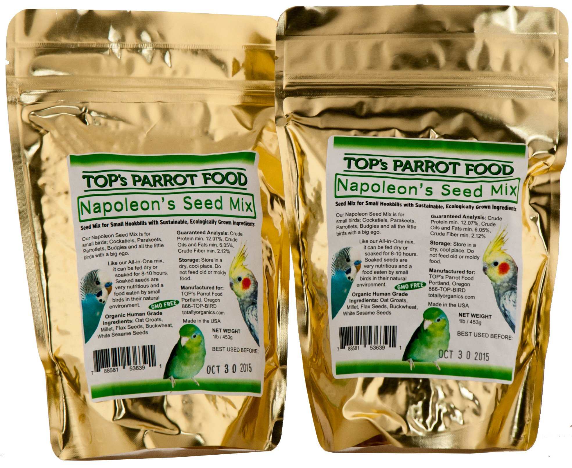 TOP's Napoleon Bird Seed Mix for Small Parrots (1lb/453g) PACK of 2 by TOP's Parrot Food