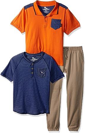 Size 5//6 Perfect Khaki Polo Assn U.S Boys 3-Piece Fashion Knit Top and Pant Set