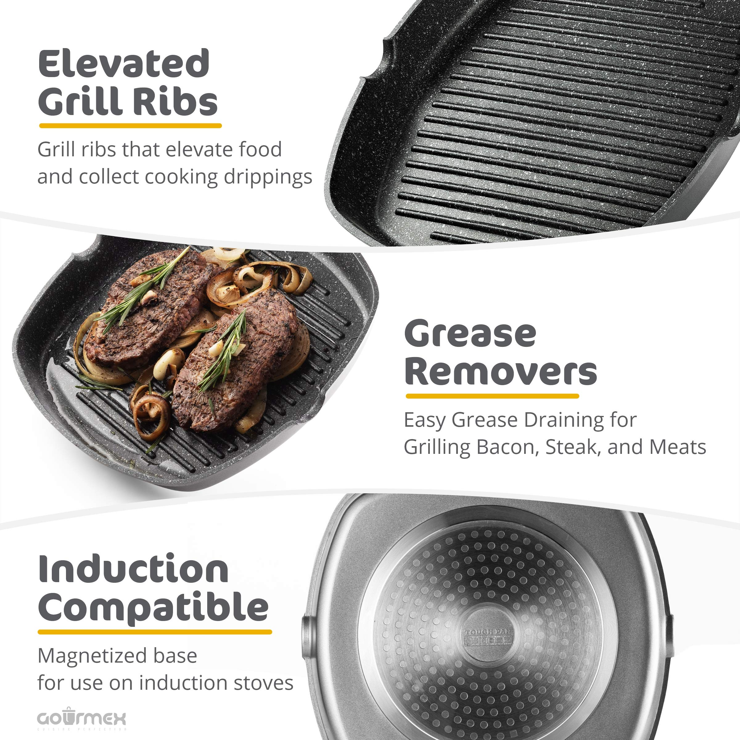 GOURMEX Toughpan Induction Grill Pan, Black, With PFOA Free Nonstick Coating | Great Skillet for Meat, Fish and Vegetables | Perfect for All Heat Sources | Dishwasher Safe Cookware (11'' Grill Pan) by GOURMEX (Image #6)