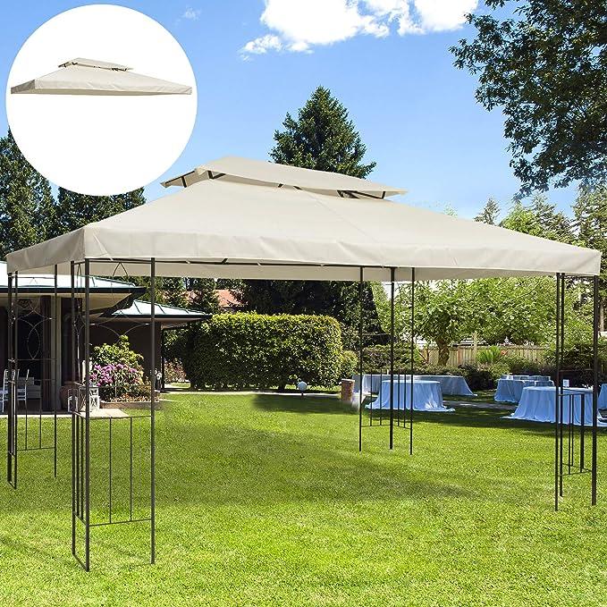 Outsunny Cubierta Superior Reemplazo para Toldo de Repuesto al Aire Libre Transpirable con 8 Agujeros Patio Jardín Playa Camping Boda Fiesta 3x4m ...