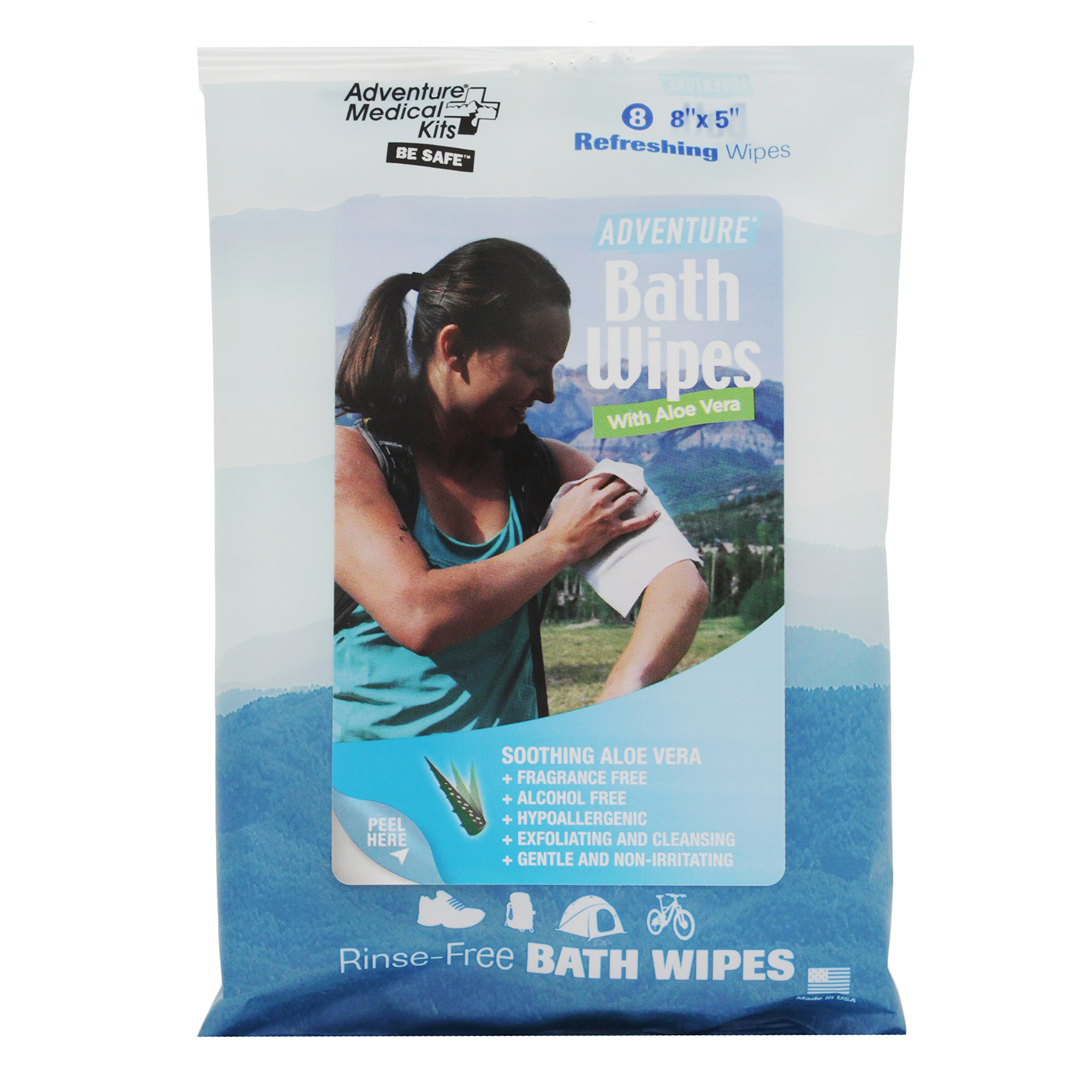 Adventure Medical Kits Bath Wipes Hypoallergenic Travel Camping (3-Pack of 8)