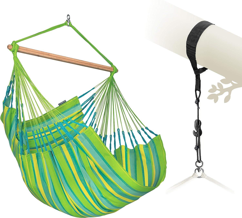 Amazon Com La Siesta Domingo Lime Weather Resistant Outdoor Comfort Hammock Chair With Treemount Suspension Kit Garden Outdoor