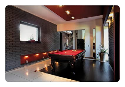 Ambesonne Modern Pet Mat For Food And Water, Stylish Luxury Home With Snooker  Table Hobby