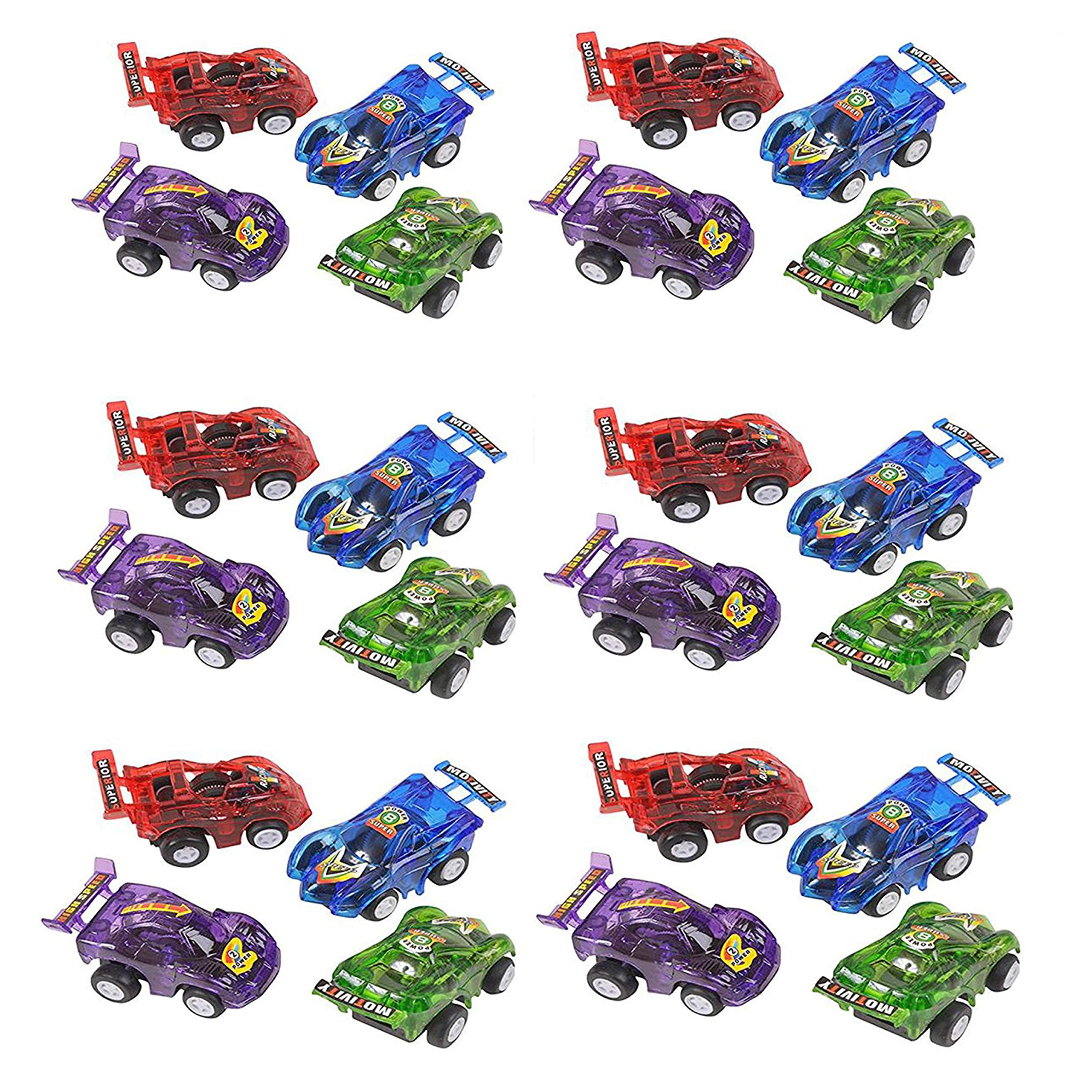 24 Piece 2.5'' Party Pack Assorted Pull Back Racing Cars. - Fun Gift Party Giveaway