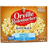 Orville Redenbachers Naturals Simply Salted Popcorn, 3.29 Ounce Classic Bag, 12 Count