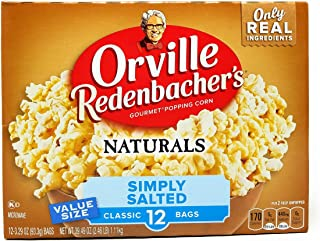 product image for Orville Redenbachers Naturals Simply Salted Popcorn, 3.29 Ounce Classic Bag, 12 Count