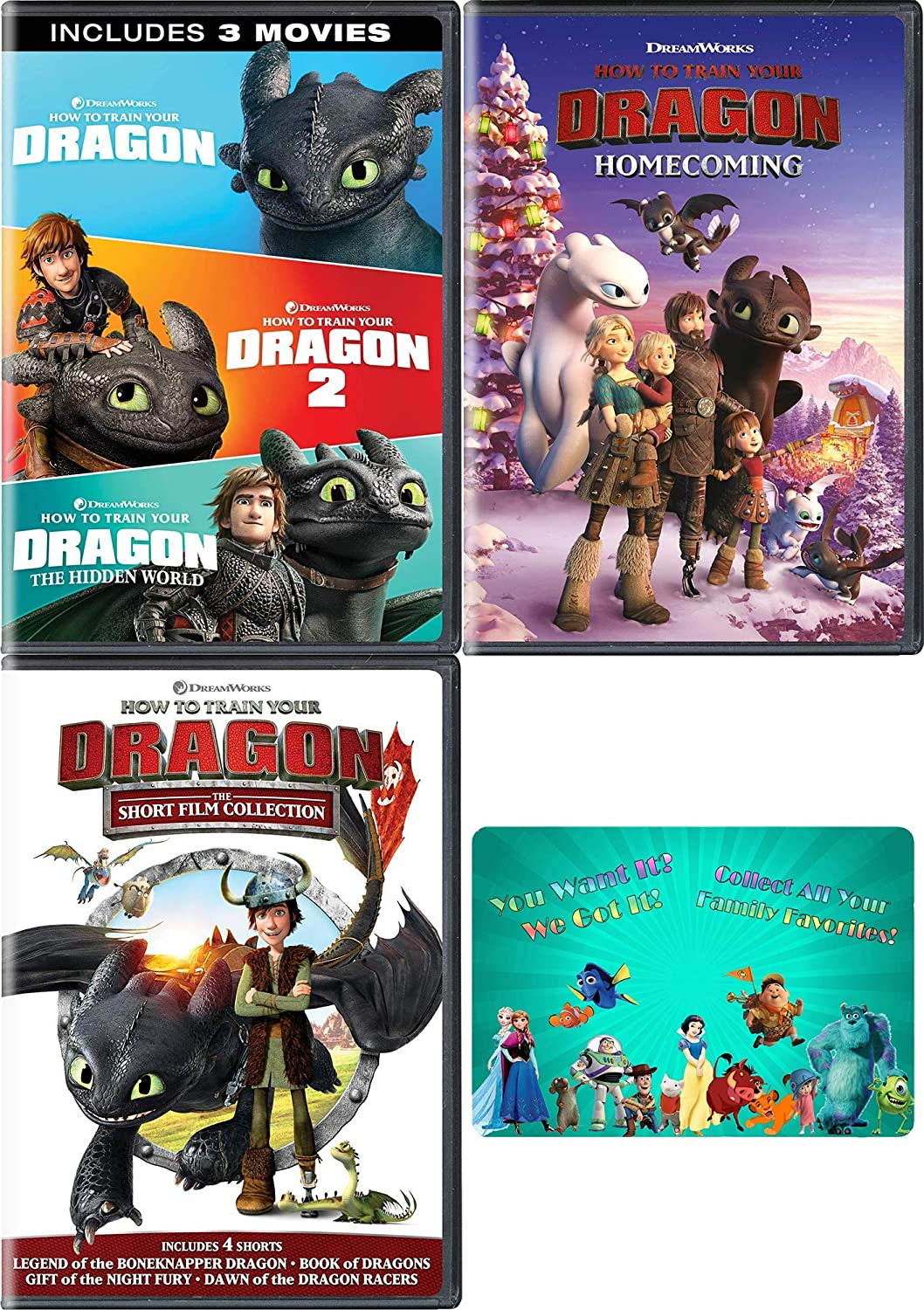 How To Train Your Dragon: Complete Movie Series and Short Film DVD Collection with Bonus Art Card