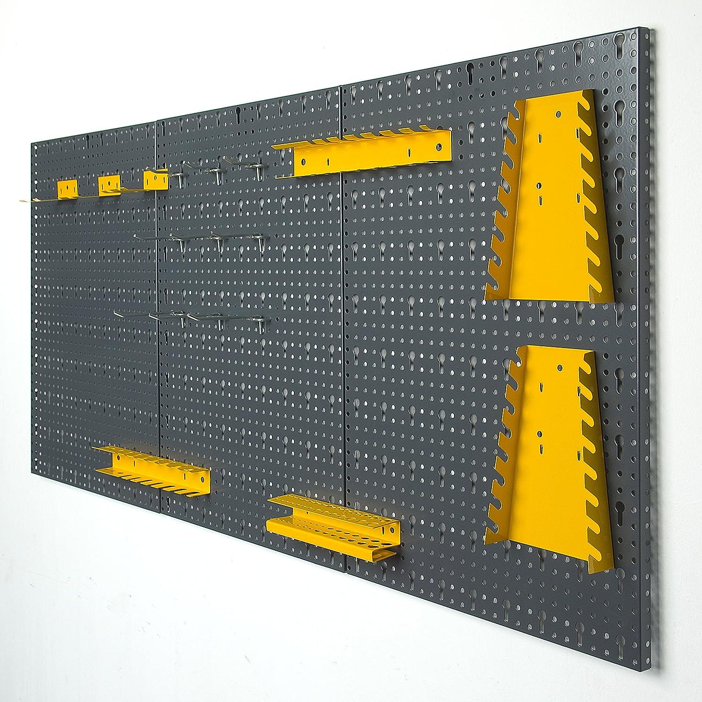 120 x 60 x 1,5 cm von Vitaerc Regal,perfektes Wandregal oder Erweiterung f/ür Ihre Werkbank Dreiteilige Werkzeugwand aus Metall mit 17tlg Hakenset ca