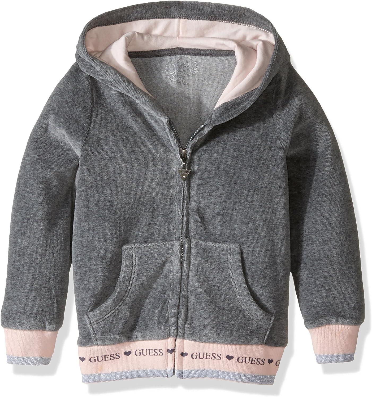 Medium Charcoal Heat Guess Girls Little Chenille Fleece Zip Front Hoodie 6