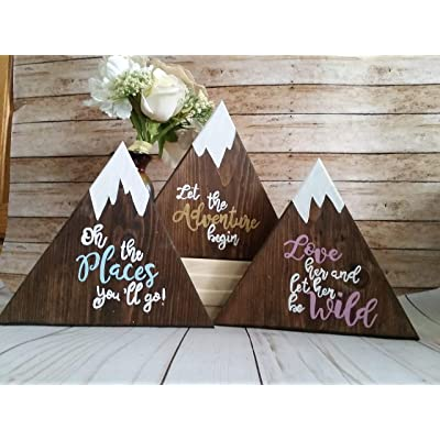 Wooden mountain signs, individual or a set of 3, Adventure themed nursery: Handmade [5Bkhe0906941]