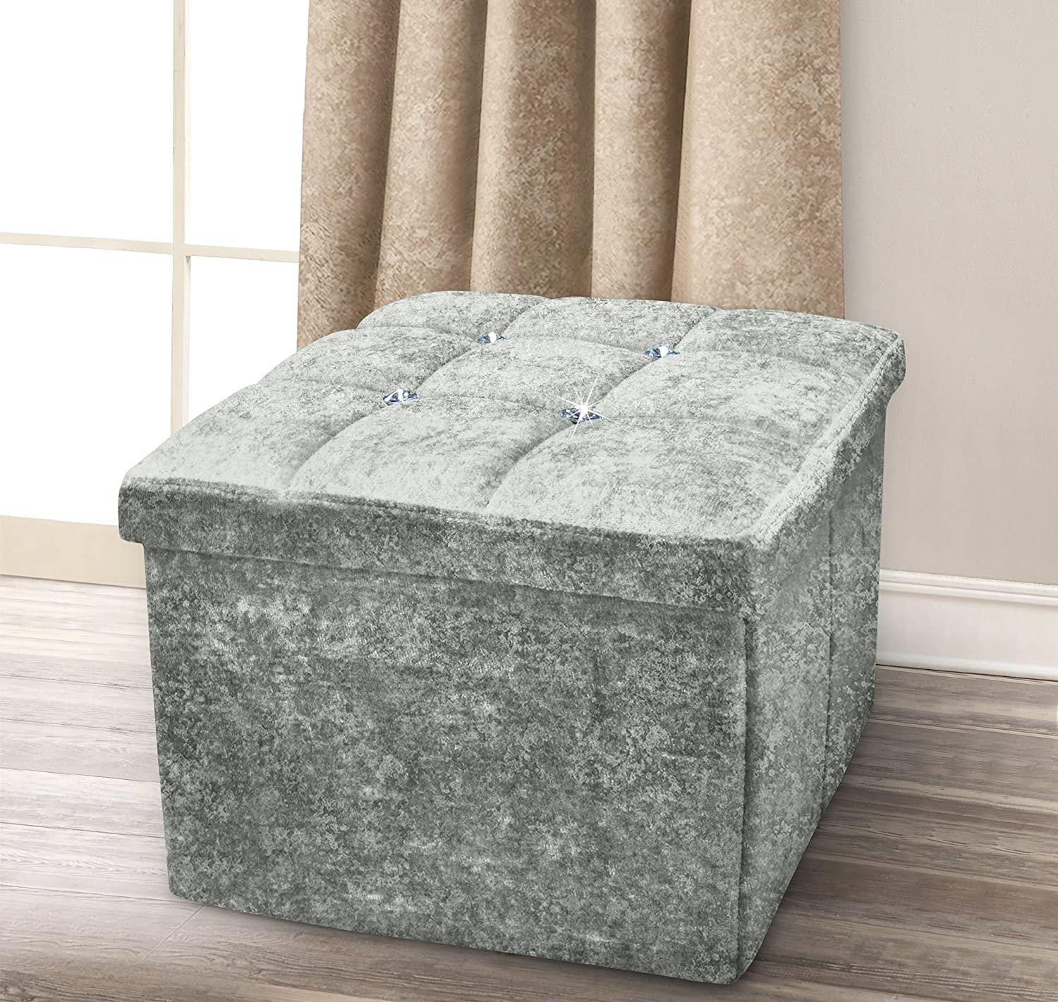 1 Seater Luxury Crushed Velvet Fabric with Diamantes Foldaway Ottoman Stool Blanket Box Bench 38cms x 38cms (Silver) MP