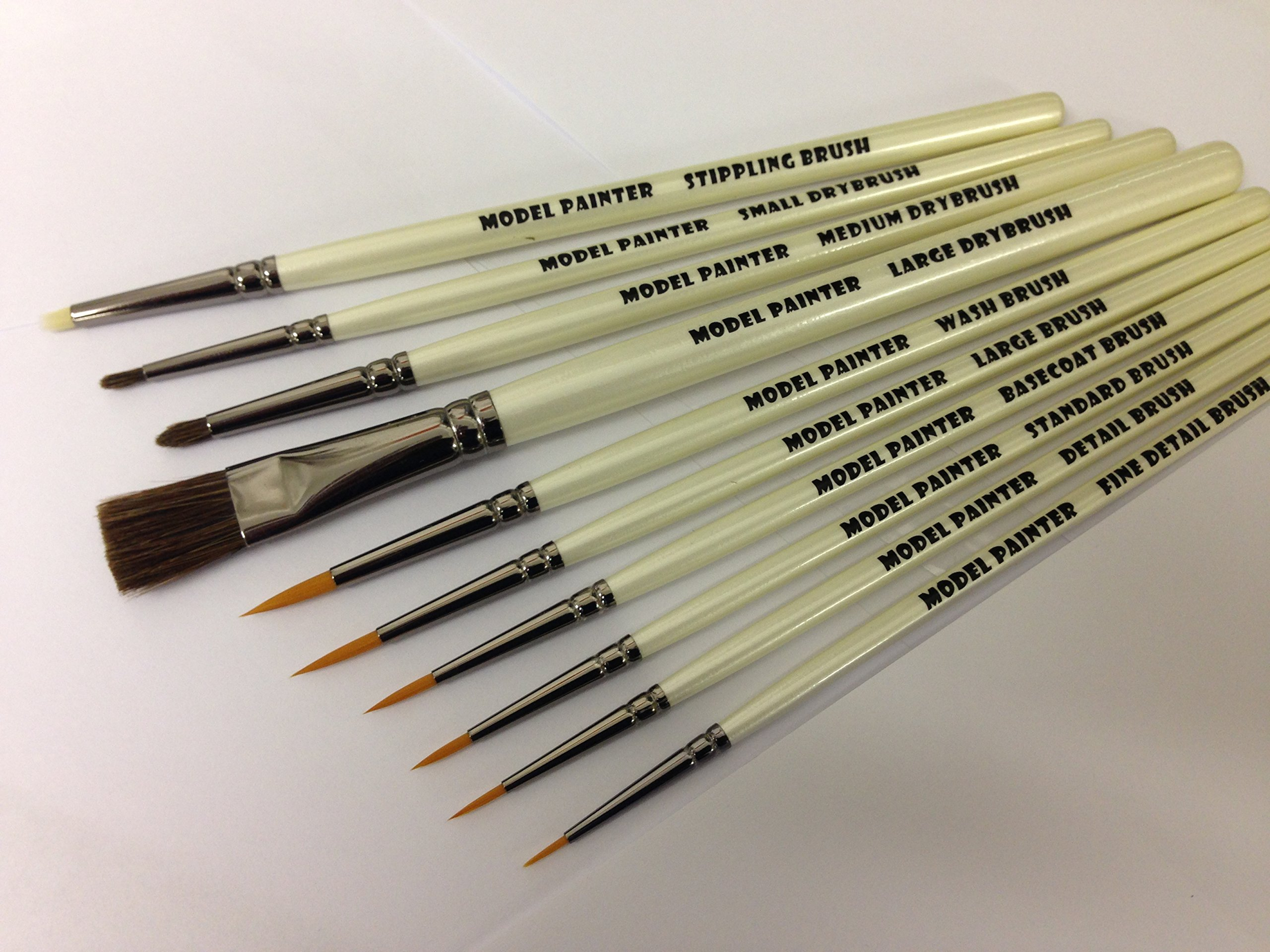 Model Painter brush set For Wargaming, Airfix, Foundry, Army Painter, Warhammer, model painting, with synthetic rounds.