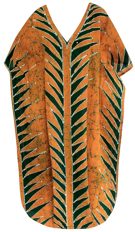 LA LEELA Frauen Damen Kaftan Tunika Gedruckt Kimono freie Größe kurz Midi Party Kleid für Loungewear Urlaub Nachtwäsche Strand jeden Tag Kleider