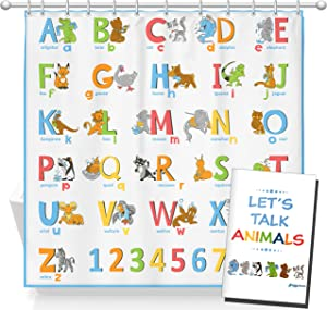HappyShower Animals ABC Alphabet Shower Curtain for Kids and Babies - 72x72in - Colorful Children's Bathroom Decor - Fun and Educational - Polyester Fabric -Colored Drawings -12 Hanging Hooks Included