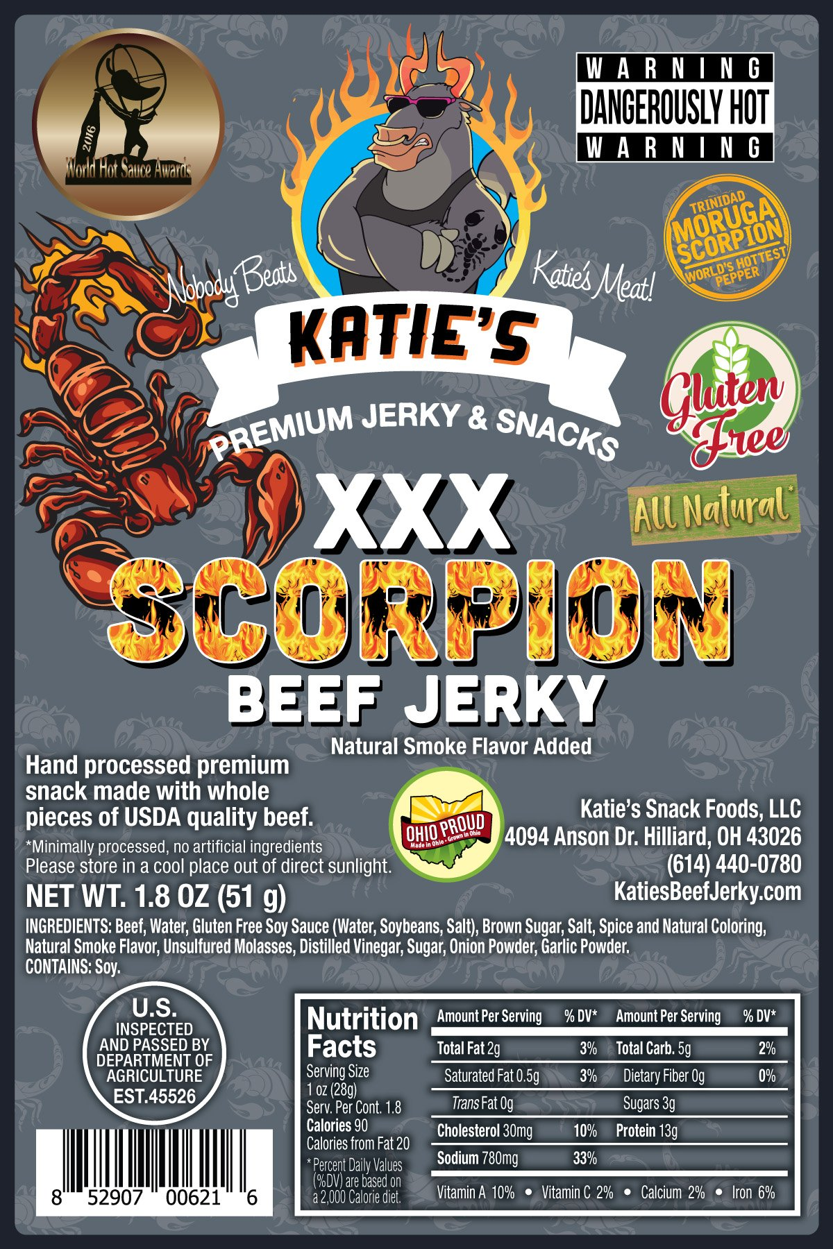 Scorpion XXX Beef Jerky (Trinidad Moruga Scorpion) GLUTEN FREE, All Natural, Hottest in the World
