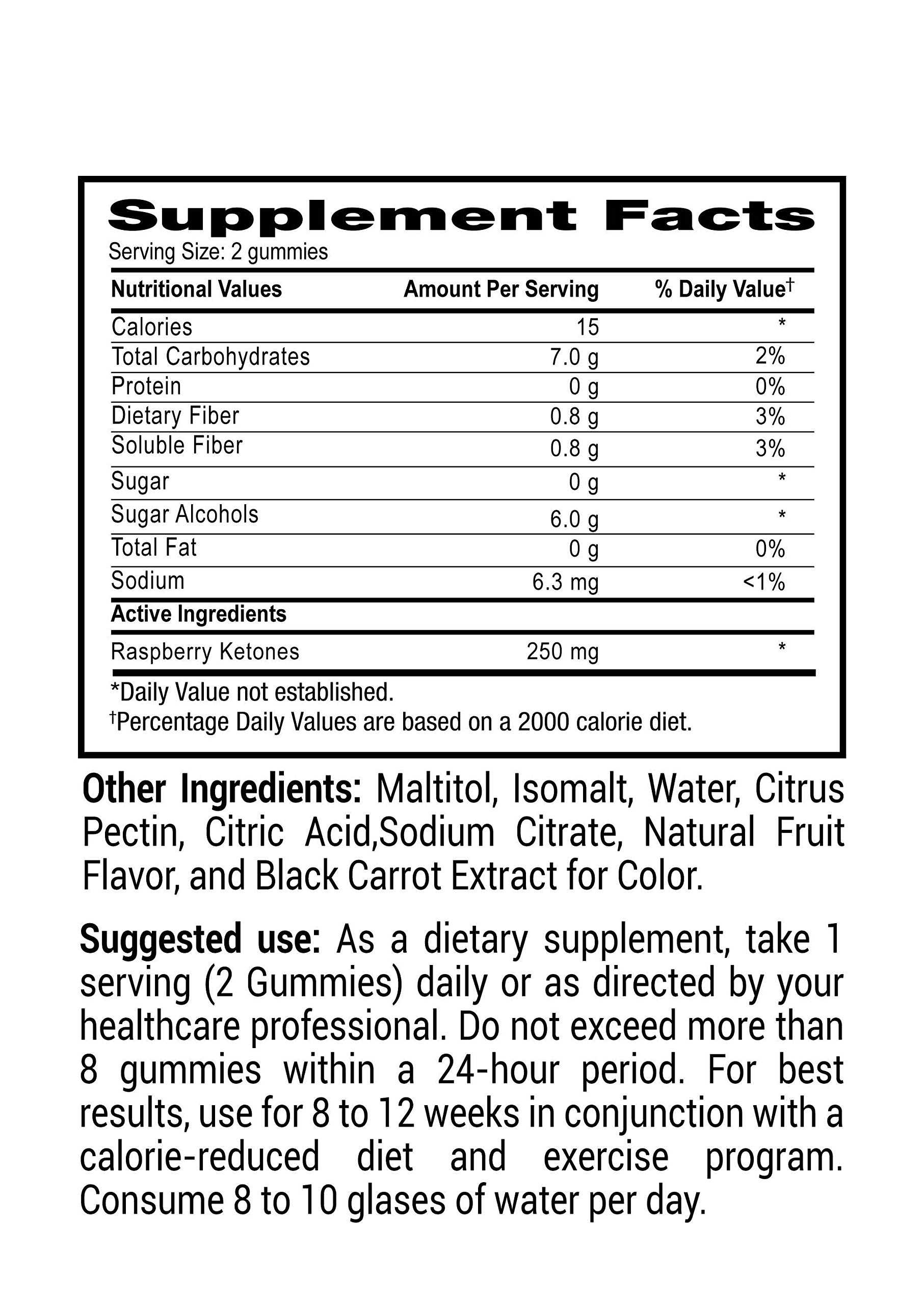 Mr Gummy Vitamins Raspberry Ketones Sugar Free Dietary Ketogenic Supplement | Promotes Healthy Weight Loss, Supports Metabolism & Provides Strength | [100 Gummies, 50-Day Supply] | for Men and Women by Mr. Gummy (Image #3)