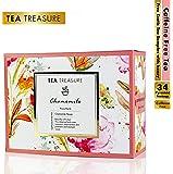 TeaTreasure Pure Chamomile Tea - Calming & Soothing Sleep Tea for Stress and Anxiety - 2 Teabox (34 Pyramid Tea Bags)