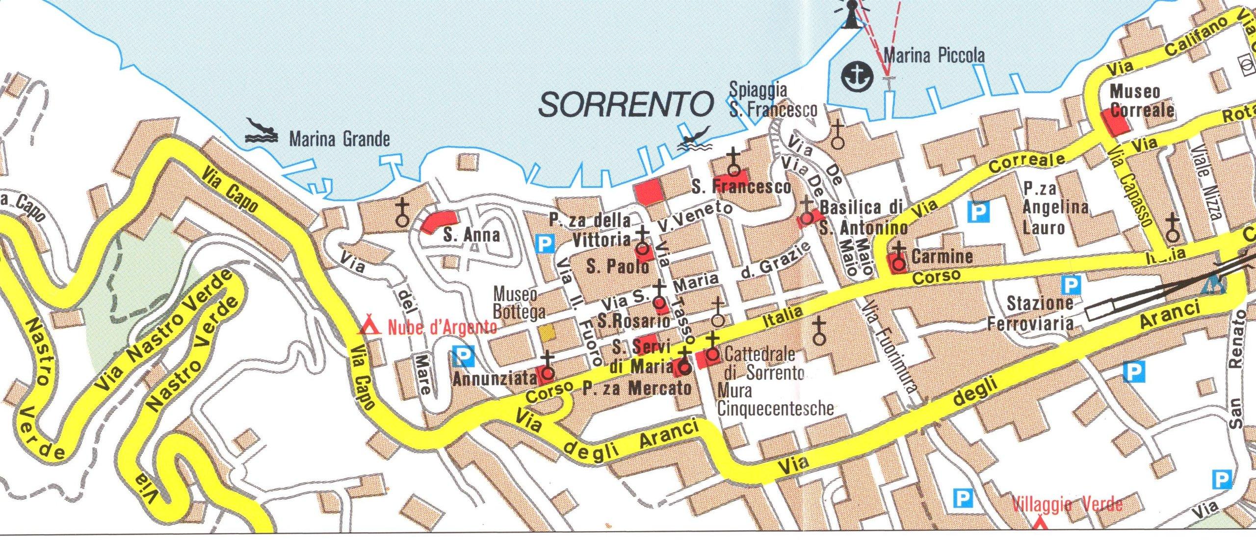 Map Of Sorrento Sorrento Peninsula   Amalfi Coast hiking map & guide 1:50.000